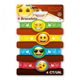 4 Braccialetti Elastici con Emoticons