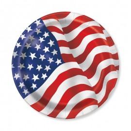 8 Piatti con Bandiera Americana 23 cm