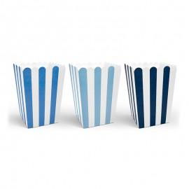 6 Sacchetti Pop Corn Strisce Blu e Bianche 12,5 cm