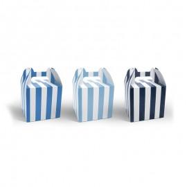 6 Scatole per Dolci con Manici con Strisce Blu 12,5 cm
