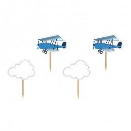 6 Stuzzicadenti con Aeroplani e Nuvole