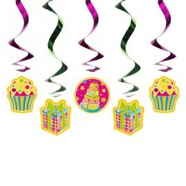 5 Decorazioni Appese con Regalo e Cupcakes