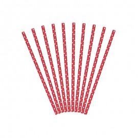 10 Cannucce con Pois di Carta 19,5 cm