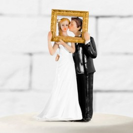 Sagome di Sposi con Cornice Dorata
