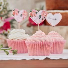 10 Topper per Cupcake di Fiori Boho