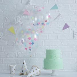5 Palloncini con Coriandoli Colori Pastello 30 cm