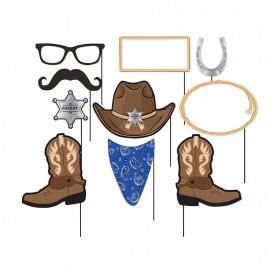 10 Accessori Cowboy Blu per Photo Booth