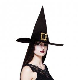 Cappello Nero a Punta con Ornamento