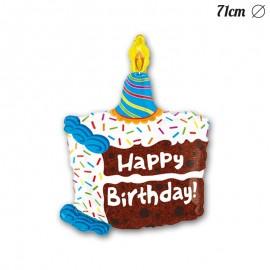 Palloncino Happy Birthday Forma Torta Foil 71 cm