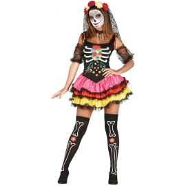 Costume da Catrina Colorata per Donna con Gonna