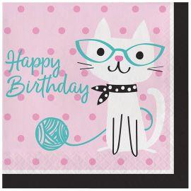 16 Servilletas Gatitos Happy Birthday 33 cm