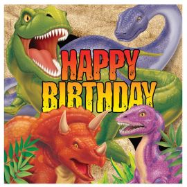 16 Tovaglioli Dinosauri Happy Birthday 33 cm