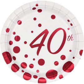 8 Piatti Sparkle and Shine 40th Red 18 cm