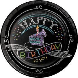 8 Piatti Chalk Birthday 18 cm