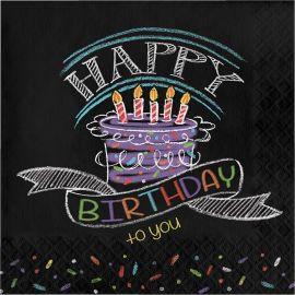 16 Tovaglioli Chalk Birthday 33 cm