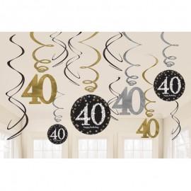 12 Decorazioni appese 40 anni elegant
