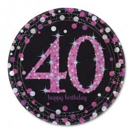 8 Piatti 40 anni Elegant Pink 23 cm