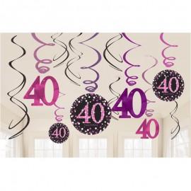 12 Decorazioni Appese 40 Elegant Pink
