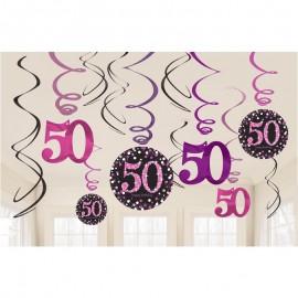 12 Decorazioni Appese 50 Elegant Pink