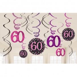 12 Decorazioni Appese 60 Elegant Pink