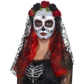 Máscara de Catrina con Velo y Rosas