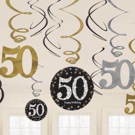 12 Decorazioni appese 50 anni elegant