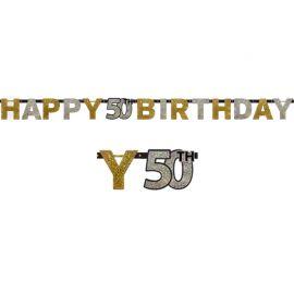 Festone Happy Birthday 50 anni Elegant