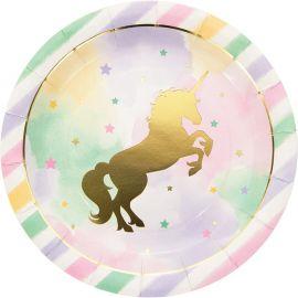 8 Piatti Unicorno Sparkle 23 cm