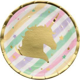 8 Piatti Unicorno Sparkle 18 cm