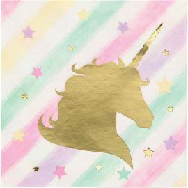 16 Tovaglioli Unicorno Sparkle 25 cm