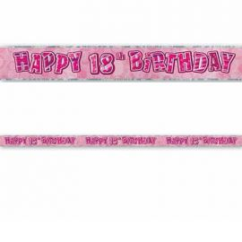 Cartellone Happy Birthday 18 Anni Rosa Glitz