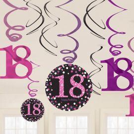 12 Decorazioni Appese 18 Elegant Pink