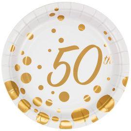 8 Piatti 50 Compleanno 18 cm