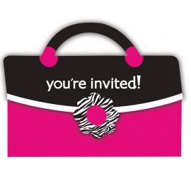 8 Inviti Pink Zebra con Busta