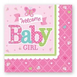 16 Tovaglioli Welcome Baby Girl 33 cm