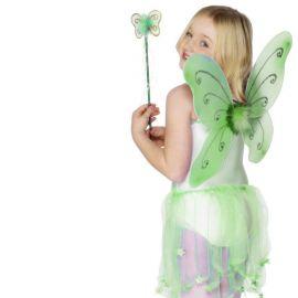 Ali da Farfalla Verdi con Bacchetta per Bambina