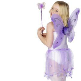 Ali da Farfalla Lilla con Bacchetta per Bambina