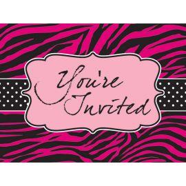 8 Inviti Pink Zebra