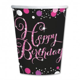 8 Bicchieri Happy Birthday Elegant Pink 266 ml