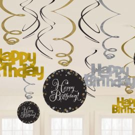 12 Decorazioni Appese Happy Birthday Elegant