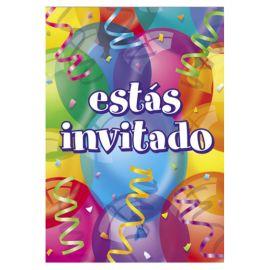 8 Inviti con Palloncini Estás Invitado