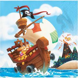 16 Tovaglioli del Tesoro dei Pirati 25 cm