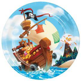8 Piatti Tesoro dei Pirati 23 cm