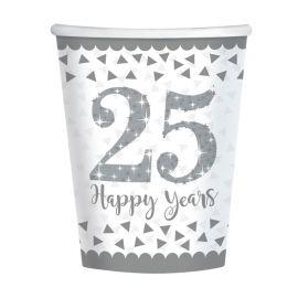 8 Bicchieri Nozze d'Argento 266 ml