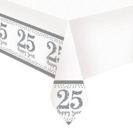 Tovaglia Nozze d'Argento di Plastica 1,2 m x 1,8 m