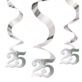 5 Decorazioni appese Nozze d'Argento Spirale