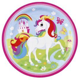 8 Piatti Unicorno 23 cm