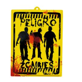 Cartel Peligro Zombies 46 x 35 cm