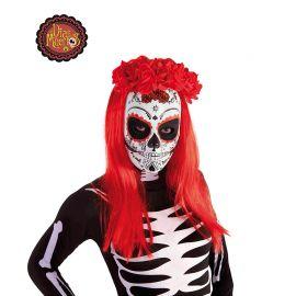 Máscara de Calavera Katrina Blanca con Rosas