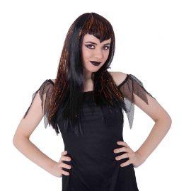 Parrucca nera con meches bianche da VAMPIRA gotica